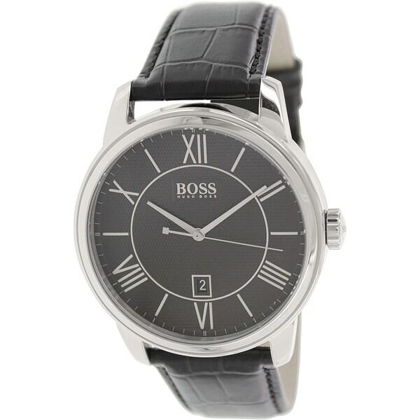 Hugo Boss Men's 1512974 Black Leather Quartz Watch