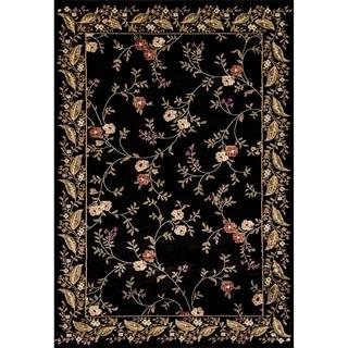 Renaissance Black Floral Border Area Rug (3'3 x 5'3)