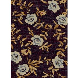 Renaissance Black Floral Area Rug (5'3 x 7'7)