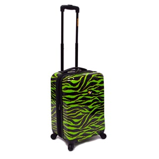 Loudmouth 22-inch Wild Lime Zebra Expandable Hardside Spinner Upright Suitcase