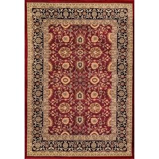 Renaissance Red/Black Traditional Print Area Rug (7'10 x 10'10)