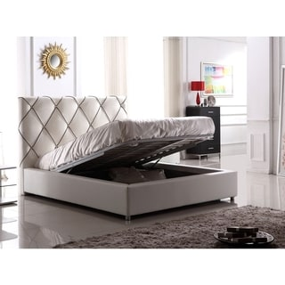 Luca Home White Leather Contemporary Queen Lift Bed