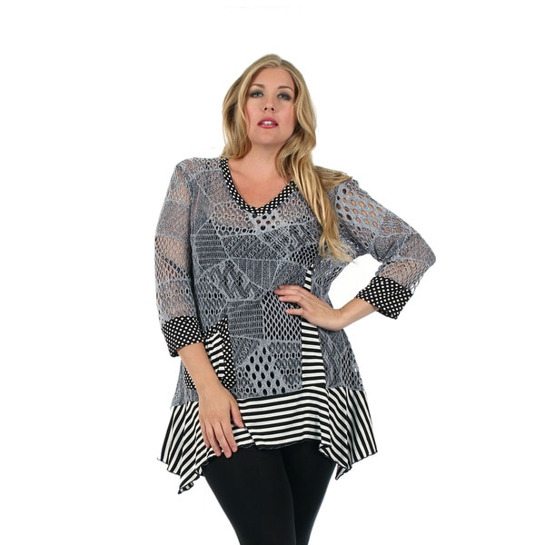 Firmiana Women's Plus Size 3/4 Sleeve Black and Grey Top