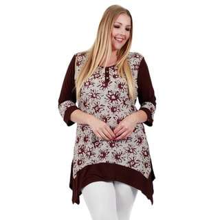 Firmiana Women's Plus Size 3/4 Sleeve Brown and White Top