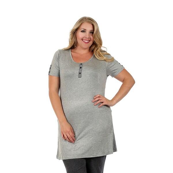 Firmiana Women's Plus Size Short Sleeve Grey Top