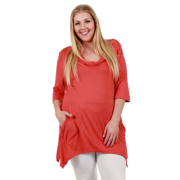 Firmiana Women's Plus Size 3/4 Sleeve Rust Top