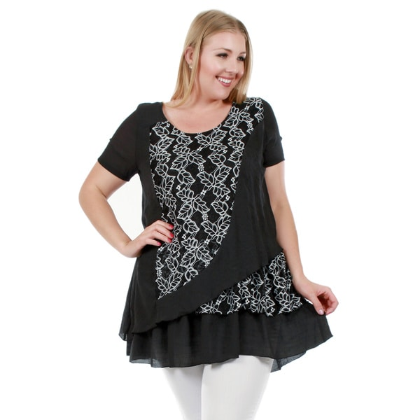 Firmiana Women's Plus Size Short Sleeve Floral Print Black Top