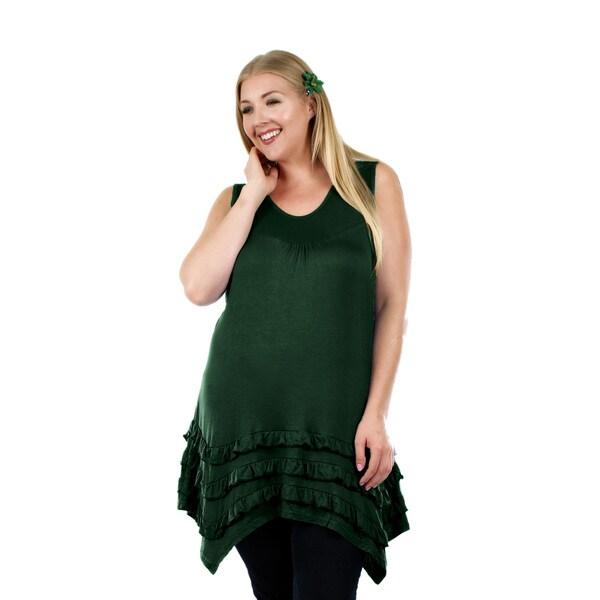 Firmiana Women's Plus Size Sleeveless Hunter Green Top