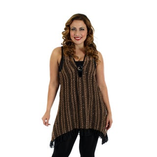 Firmiana Women's Plus Size Sleeveless Brown Top