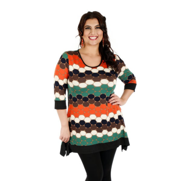 Firmiana Women's Plus Size 3/4 Sleeve Green and Red Top