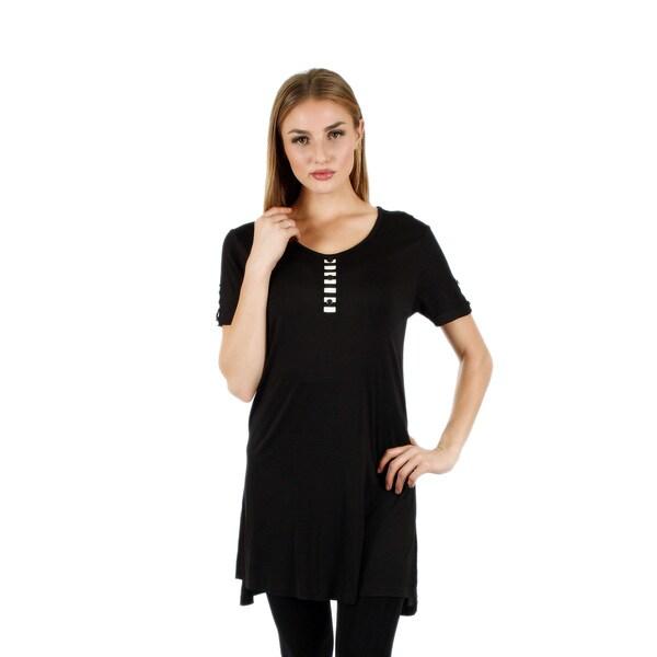 Firmiana Women's Short Sleeve Black Top