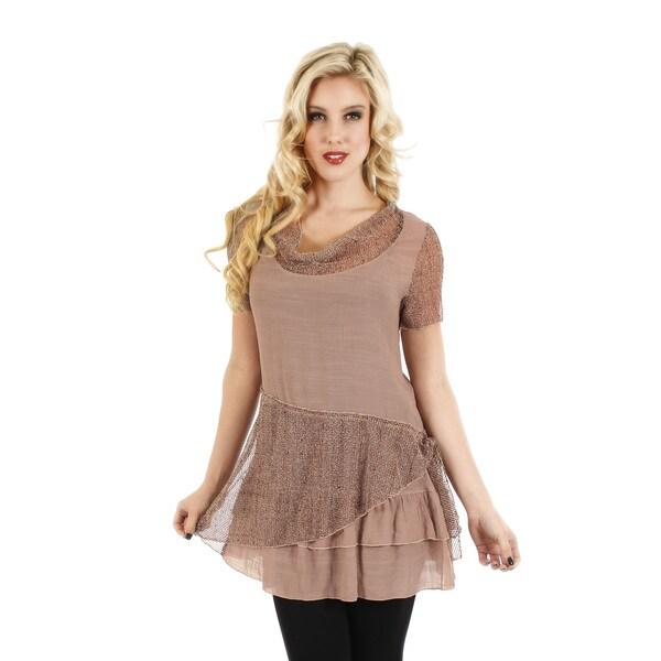 Firmiana Women's Short Sleeve Brown Top