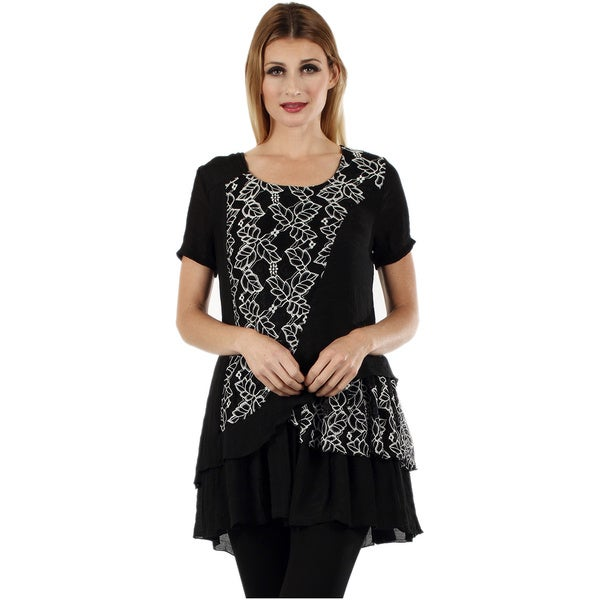 Firmiana Women's Short Sleeve Black Floral Top