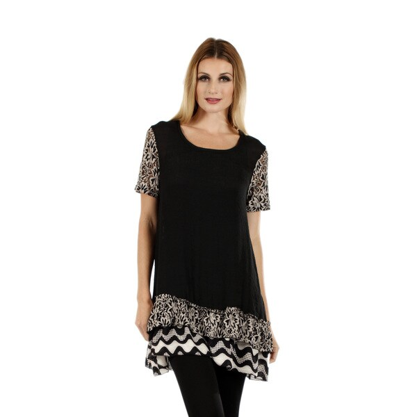 Firmiana Women's Short Sleeve Black Top with Floral Print