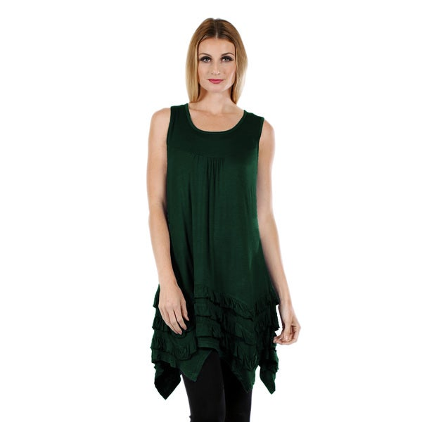 Firmiana Women's Sleeveless Hunter Green Top