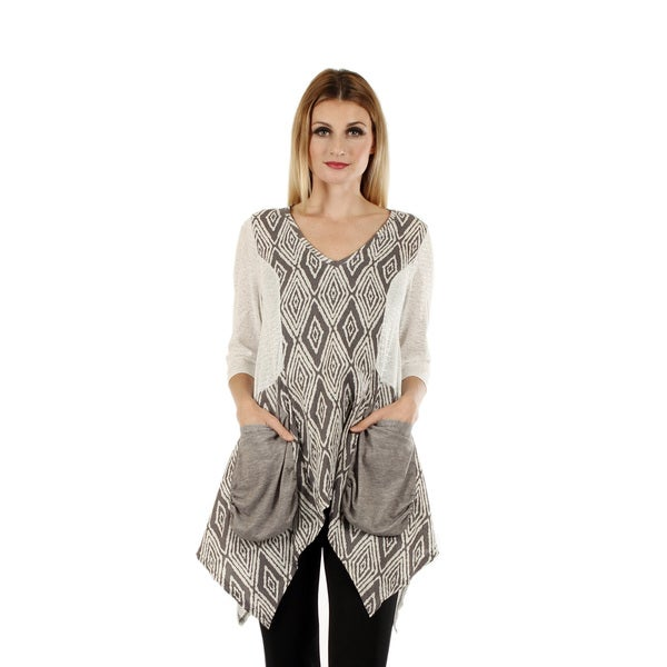Firmiana Women's 3/4 Sleeve Grey and White Top