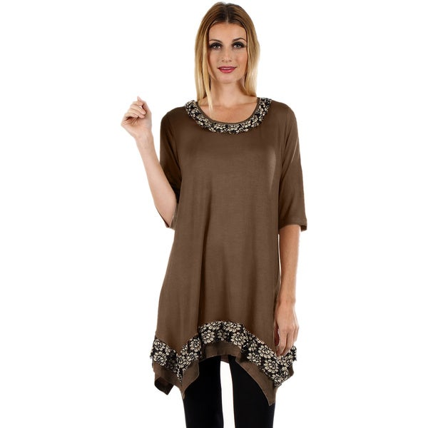 Firmiana Women's 3/4 Sleeve Mocha Top with Floral Accents