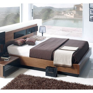 Luca Home Black/Brown Italian Contemporary Storage Bed