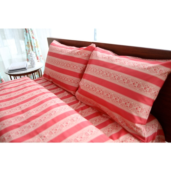 Amy Butler for Welspun , SariBloom, Red Stripe floral Sheet set