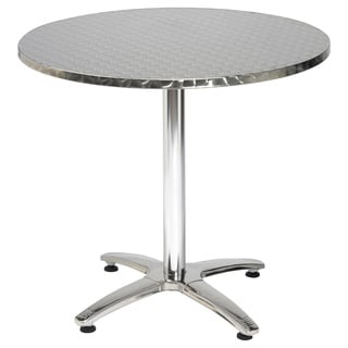32-inch Round Stainless Steel X-basePedestal Table