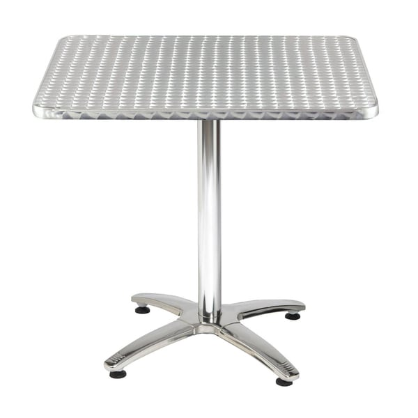 32-inch Square Stainless Steel X-base Pedestal Table