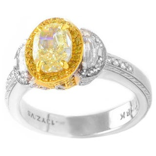 Gregg Ruth Platinum and 18k Yellow Gold 1 1/2ct TDW Oval Yellow Diamond Ring (F-G, SI1-SI2)