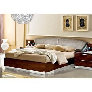 Luca Home Walnut and Nabuk Italian Leather Bed