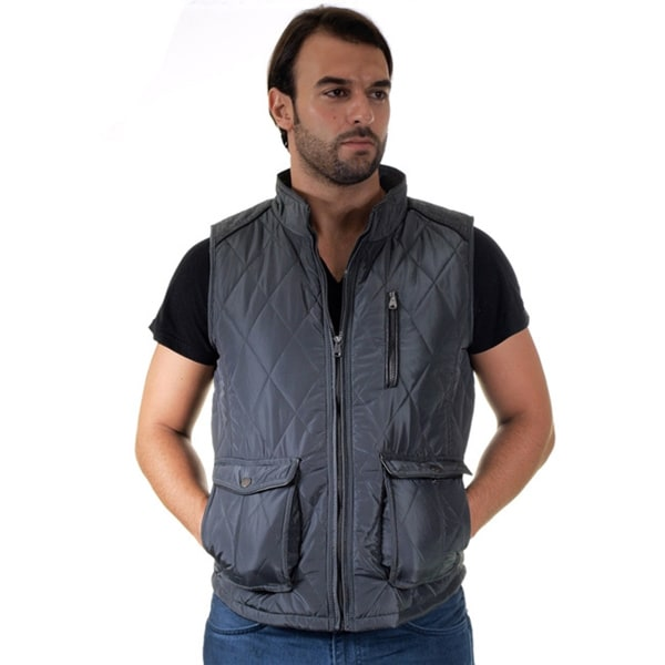 Men's Quilted Fur Lined Side Cargo Pocket/ Chest Zip Pocket Vest Large Size in Navy (As Is Item)