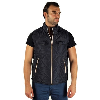 Men's Quilted Fur Lined Pleather Piping Zip Up Vest