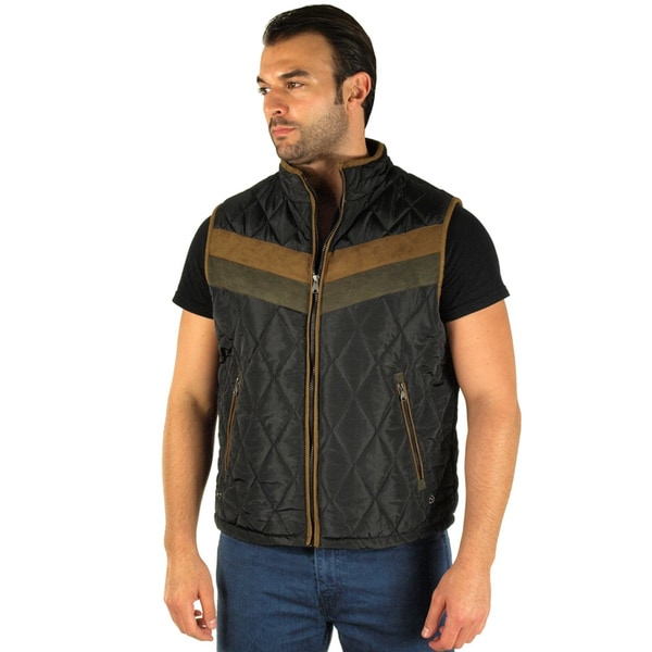 Men's Quilted Fur Lined Stripe Chest Zip Up Vest