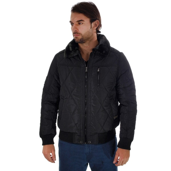 Rock Revolution Men's Quilted Fur-lined Collar Zip-up Pilot Jacket
