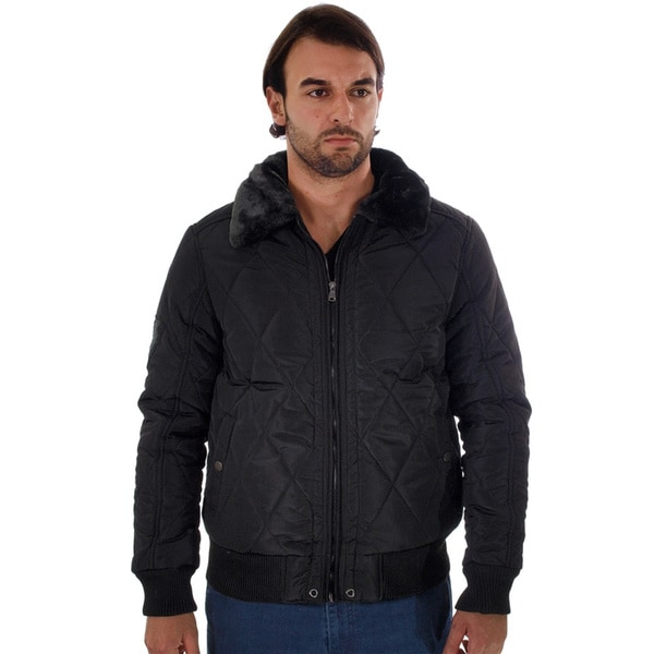 Rock Revolution Men's Quilted Fur-lined Collar Zipper Pocket Zip-up Pilot Jacket