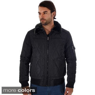 Rock Revolution Men's Quilted Fur-lined Zip-up Pilot Jacket with Fur Collar, Pockets and Zipper Pocket