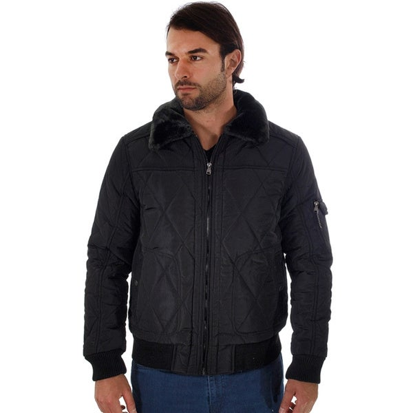 Rock Revolution Men's Quilted Fur-lined Zip-up Pilot Jacket W/ Fur Collar, Pockets and Zipper Pocket