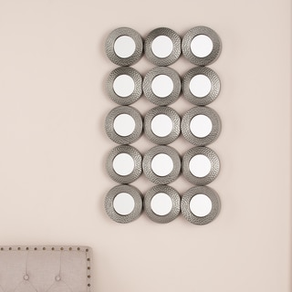 Upton Home Hammered Silver Sphere Grid Wall Sculpture