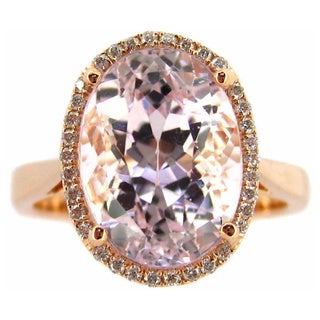 Kabella 14k Rose Gold Oval-cut Kundite 1/6ct TDW Diamond Halo Ring (G-H, SI1-SI2) (Size 6.5)