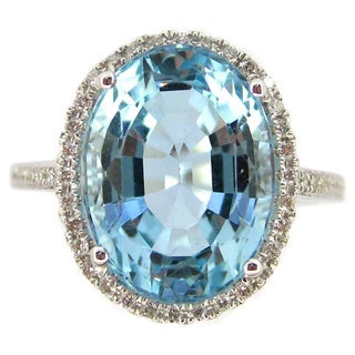Kabella 14k White Gold Oval-cut Aquamarine 1/5ct TDW Diamond Ring (G-H, SI2-SI3) (Size 6.5)