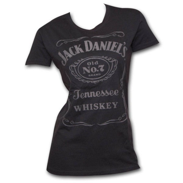 Juniors' Jack Daniels Raised Logo Black T-Shirt