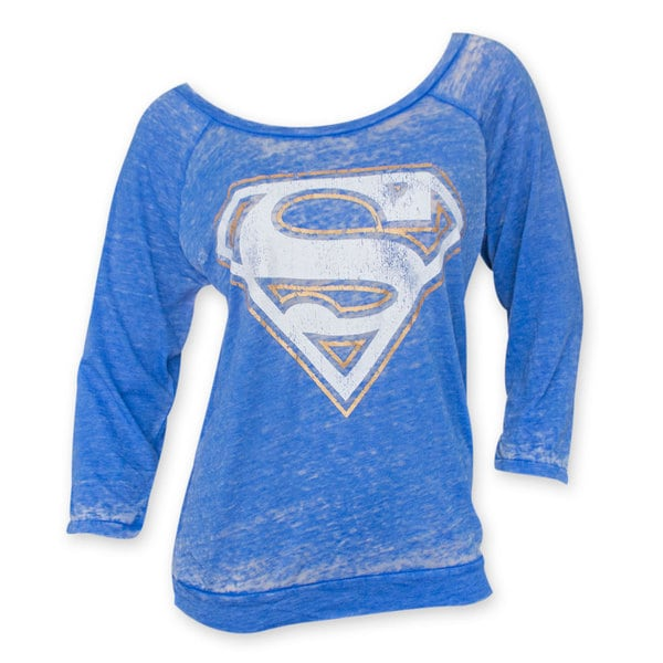 Women's Superman Burnout Blue Shirt
