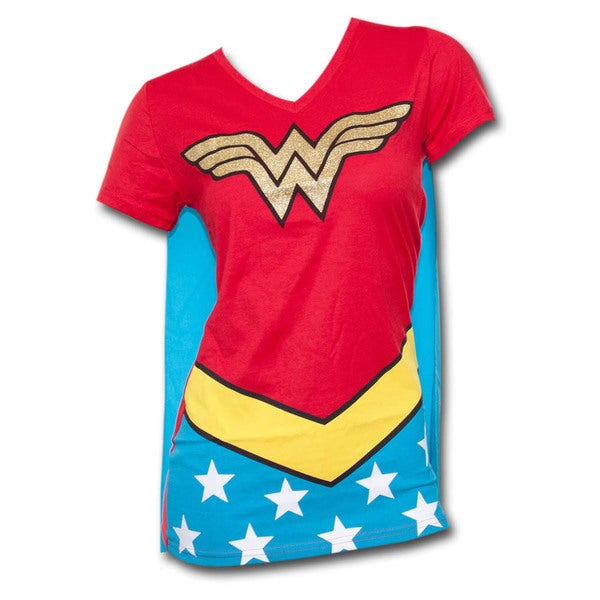 Juniors' Wonder Woman Red/ Blue T-Shirt with Cape