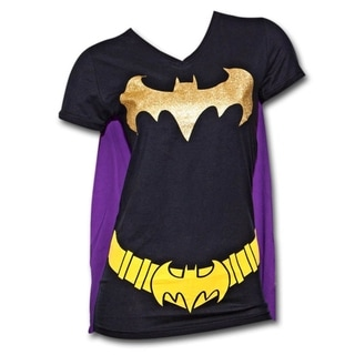 Juniors' Batman Black/ Purple T-Shirt with Cape