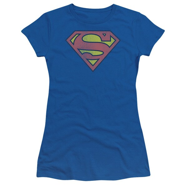 Juniors' Superman Faded Logo Royal Blue Graphic T-Shirt