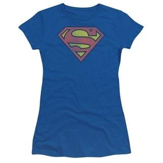 Juniors' Superman Faded Logo Royal Blue Graphic T-Shirt
