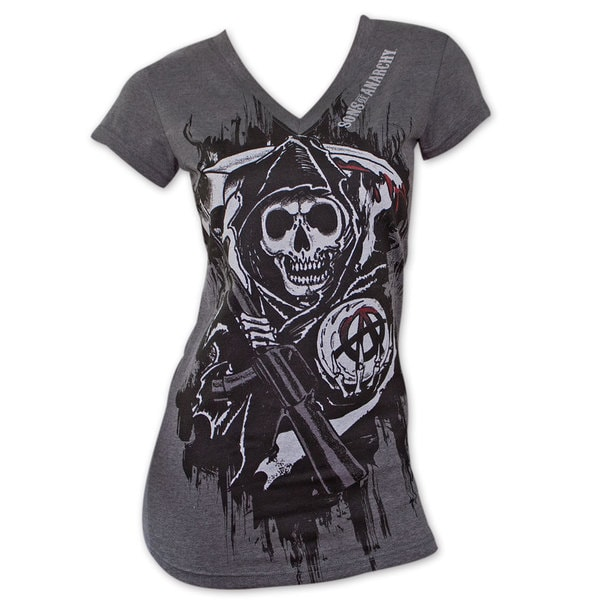 Women's Sons of Anarchy Dark Grey Reaper T-Shirt