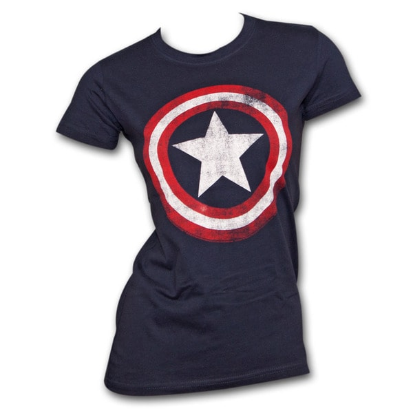 Women's Captain America Shield Marvel Logo Costume T-Shirt (As Is Item)