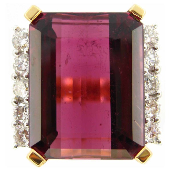 Kabella Luxe 18k Yellow Gold Pink Tourmaline 1ct TDW Diamond Ring (G-H, SI1-SI2)