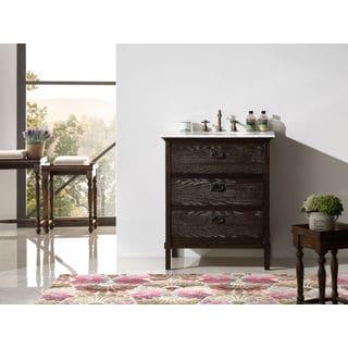 Legion Furniture 30-inch Brown Solid Wood Single Sink Vanity with Marble Top