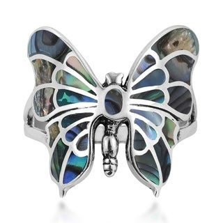 Exotic Graceful Butterfly Inlay Sterling Silver Ring (Thailand)