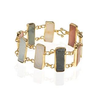 Burmese Jade Rectangle Link Gold Vermeil Brass Bracelets (Thailand)