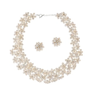 Blossoms White Pearl Floral Necklace Earrings Jewelry Set (Thailand)